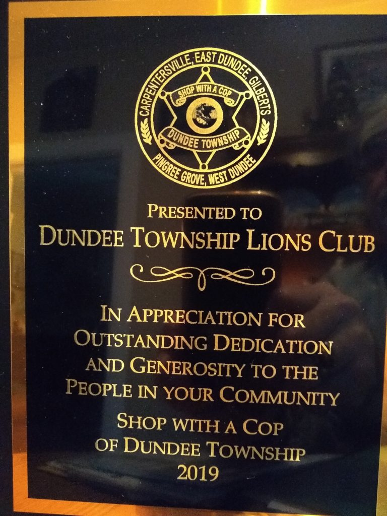 Dundee Lions Club Shop with a cop